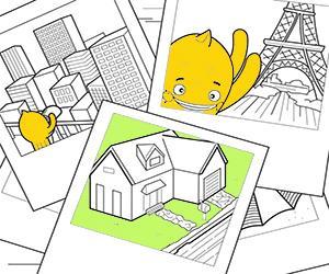 раскраски Дома, Города и Памятники